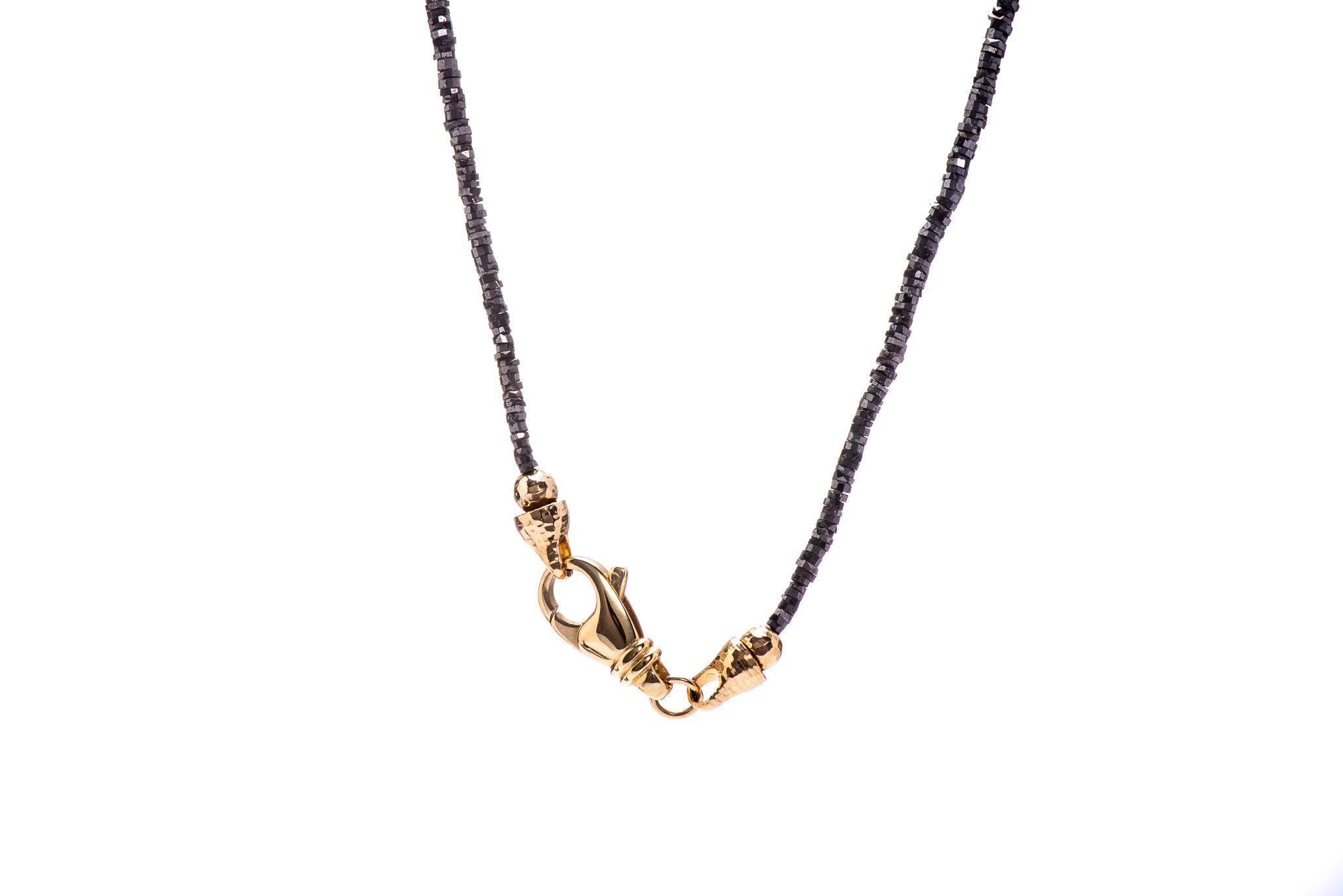 "Black Diamond ""Tire Cut"" Necklace w/18K Yellow Gold"