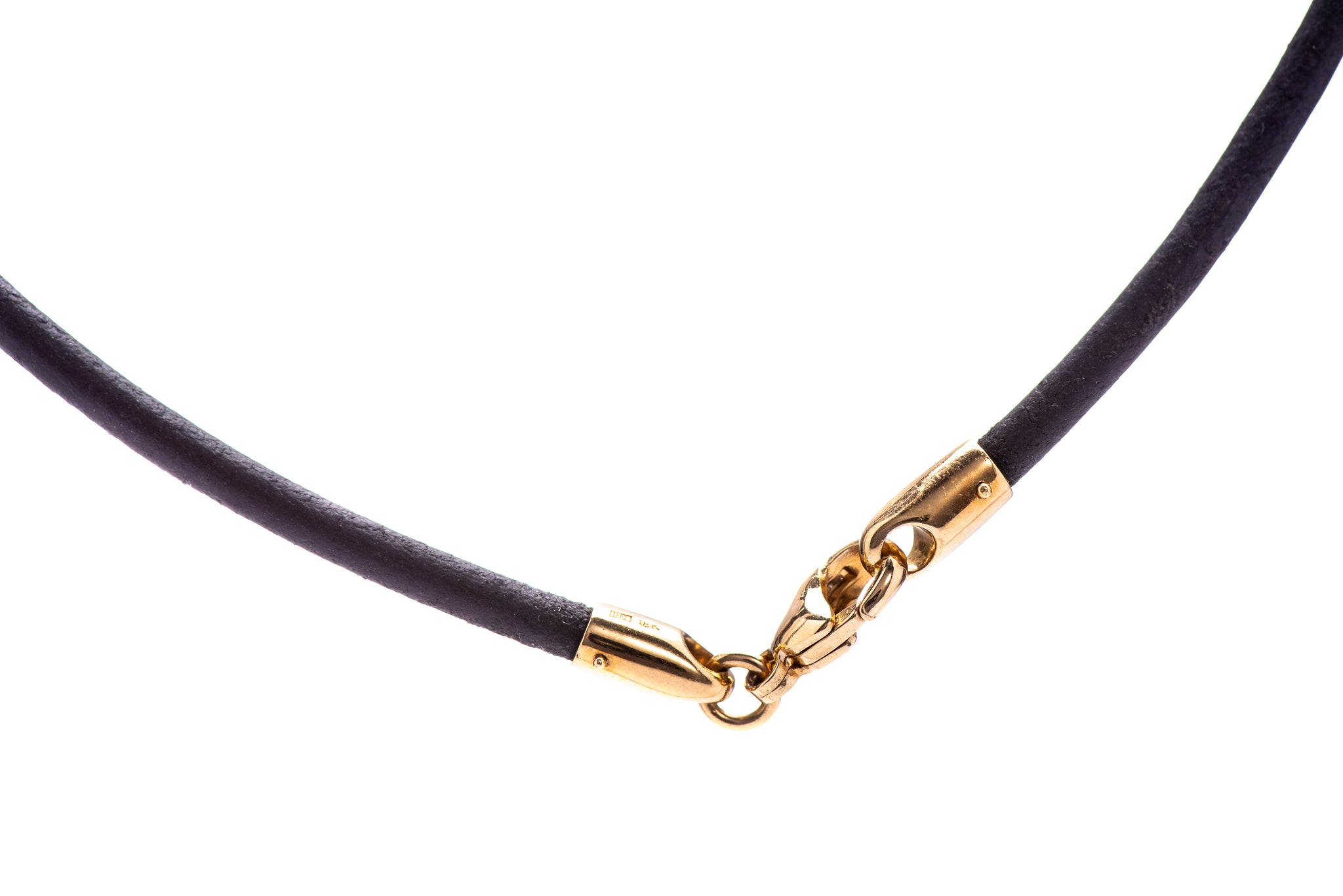 Black Leather Cord w/ 18K Yellow Gold Lock