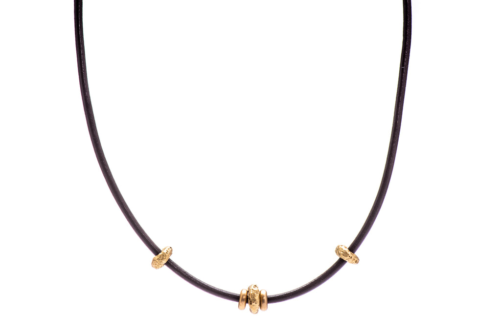 Cheerios Leather Necklace w/ 3 22K Cheerios, 2 18K Flat Beads and 18K Yellow Gold Lock
