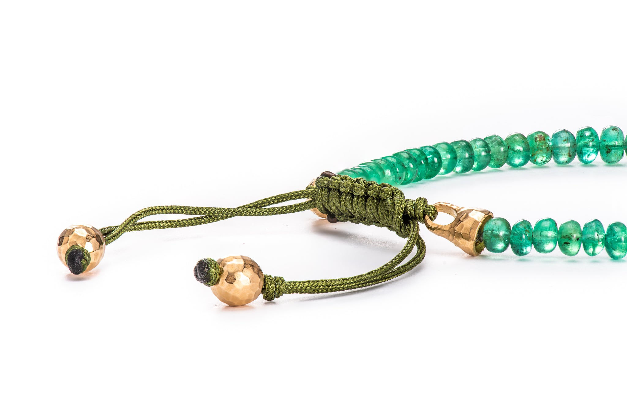 Emerald Bead Bracelet w/ 18K Yellow Gold Lock