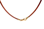Light Brown Leather Cord w/ 18K Yellow Gold Lock