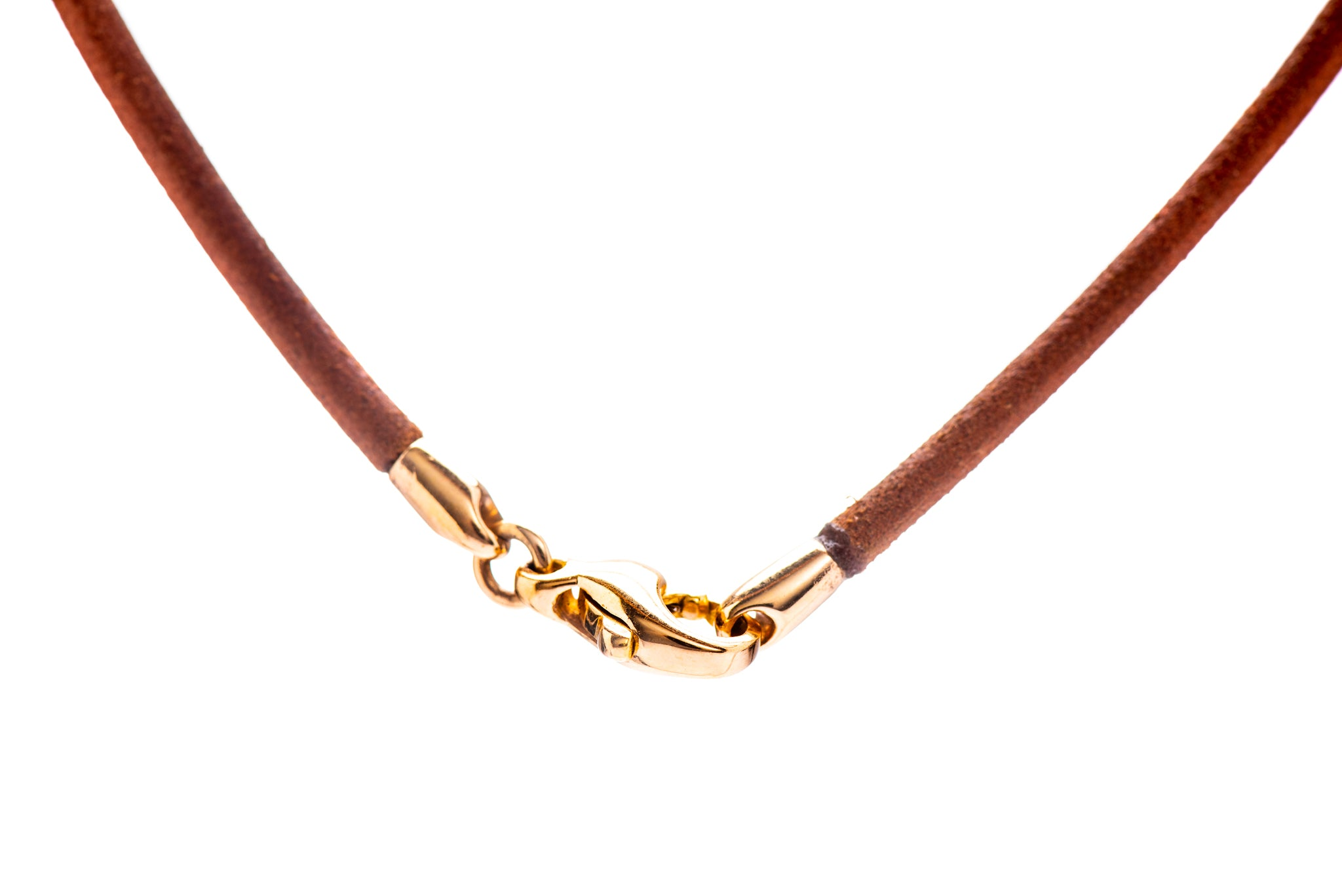 Light Brown Leather Double-Wrap Cord w/ 18K Yellow Gold Lock