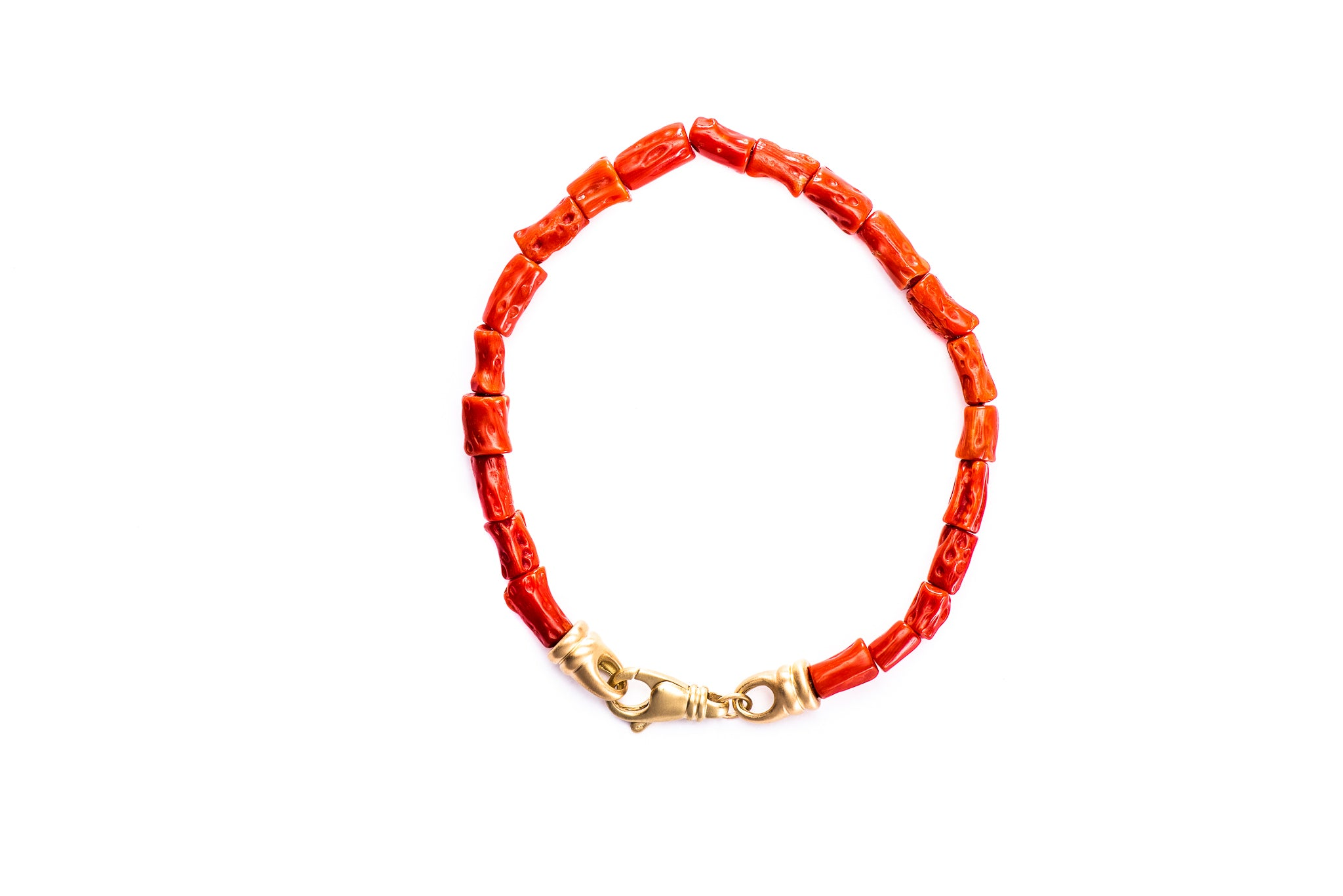 Red Coral Bracelet w/ 18K Yellow Gold Lock