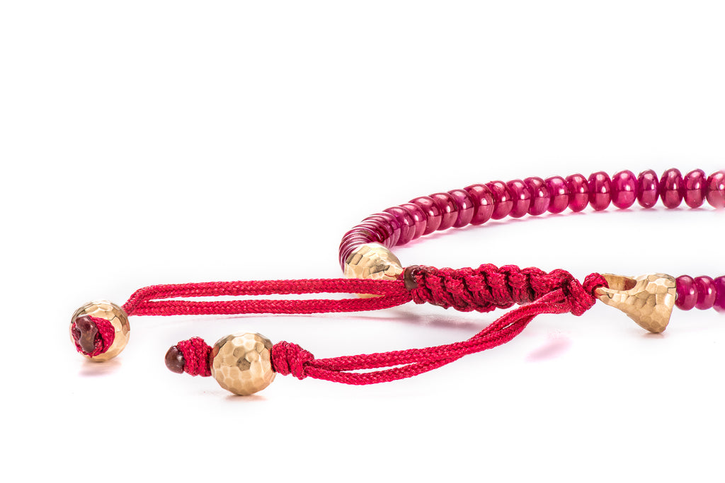 Ruby Bead Bracelet w/ 18K Yellow Gold Macramé