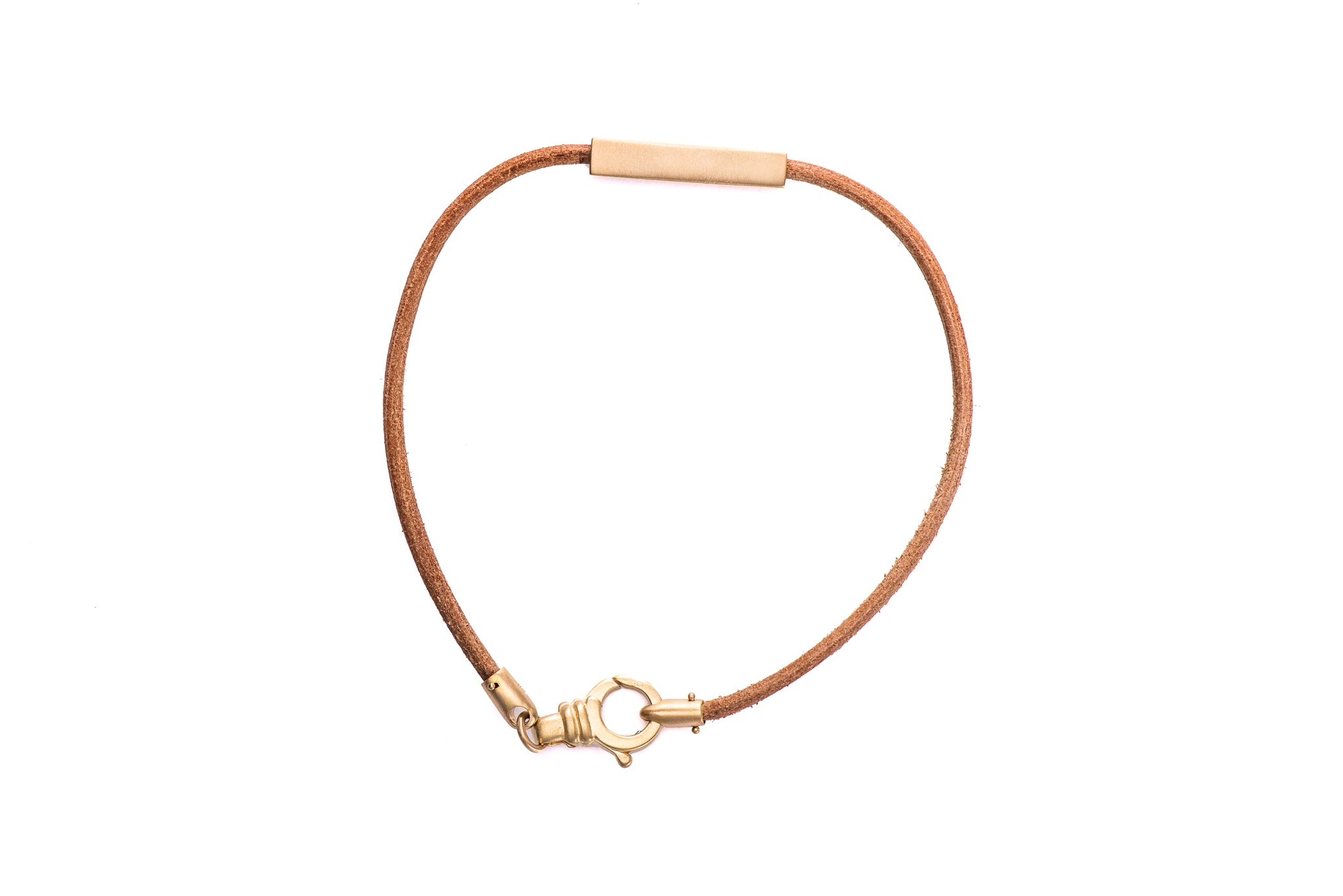 Single Gold Bar / Leather Bracelet w/ 18K Yellow Gold Lock