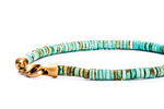 "Turquoise ""Tire Cut"" Beads w/ 18K Yellow Gold Lock"