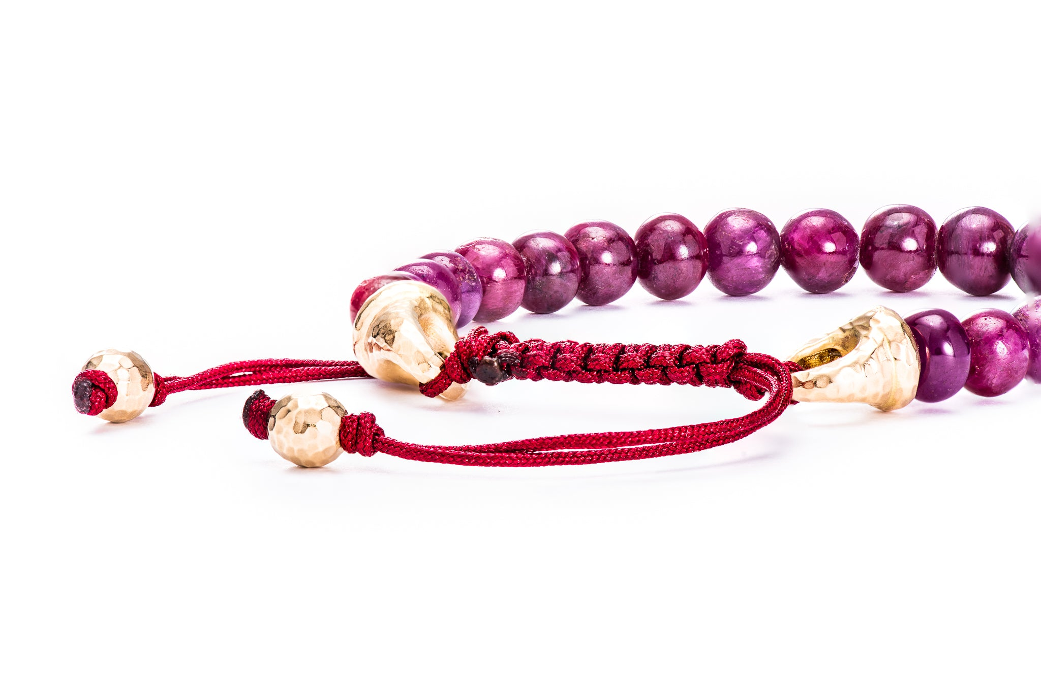 XL Ruby Bead Bracelet w/ 18K Yellow Gold Macramé