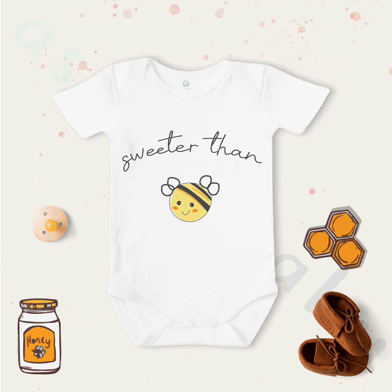 Sweeter Than Honey Desenli Organik Bebek Body