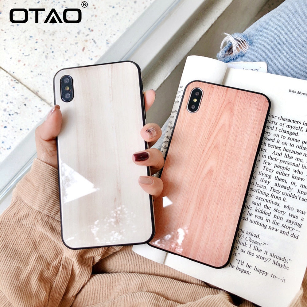 Wooden Grain Tempered Glass Case