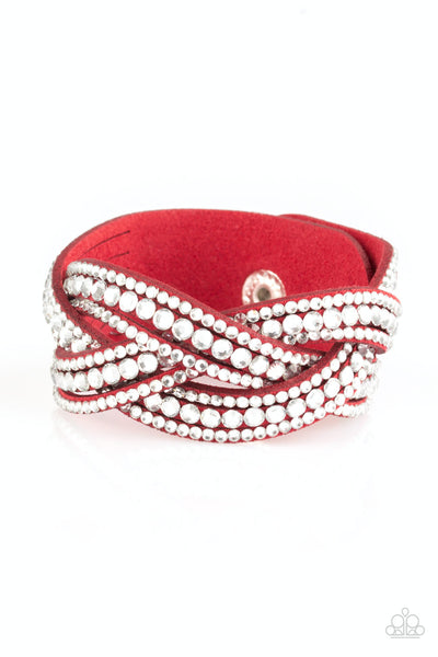 Paparazzi Bring On The Bling Red Single Wrap Snap Bracelet