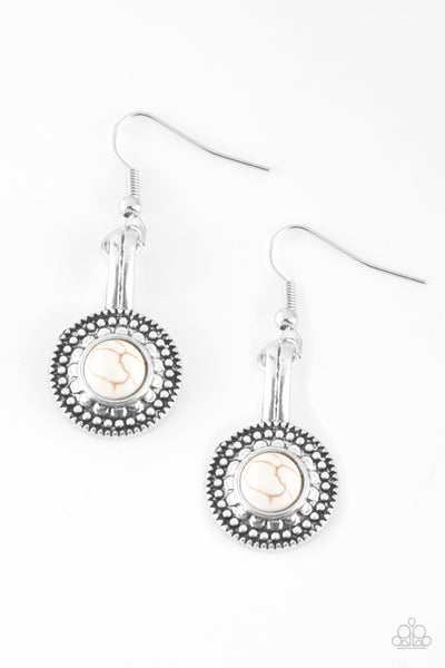 Paparazzi Simply Stagecoach White Fishhook Earrings