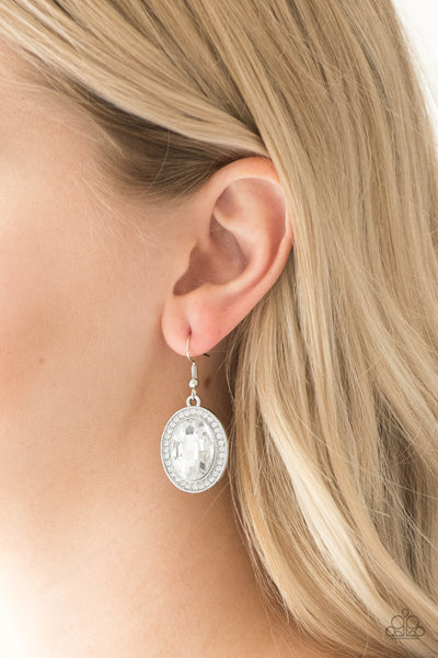Paparazzi Only Fame In Town White Fishhook Earrings