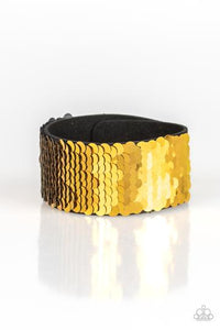 Paparazzi Mer-mazingly Mermaid Gold Single Wrap Sequin Snap Bracelet