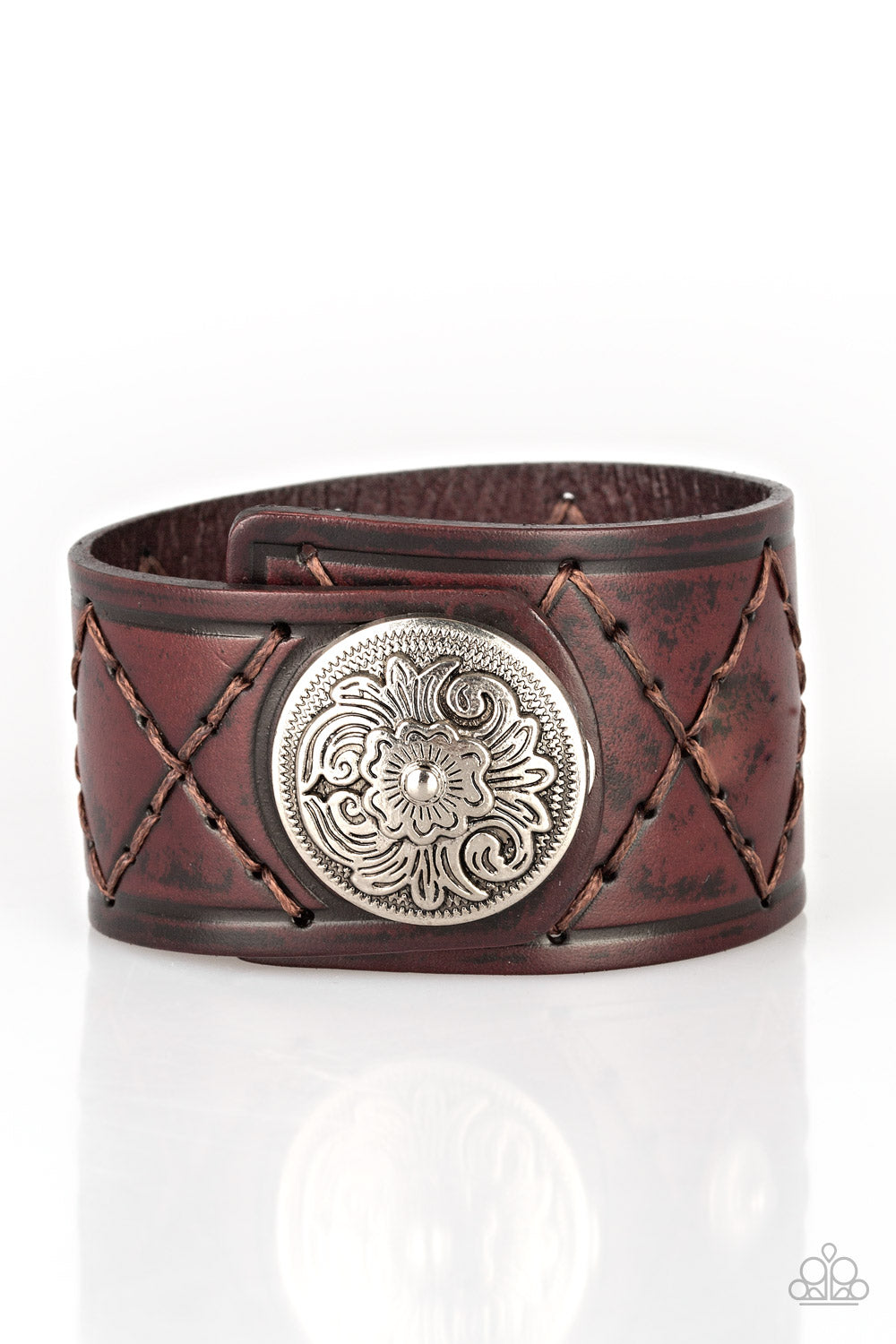 Paparazzi Badlands Bandit Brown Single Wrap Snap Bracelet