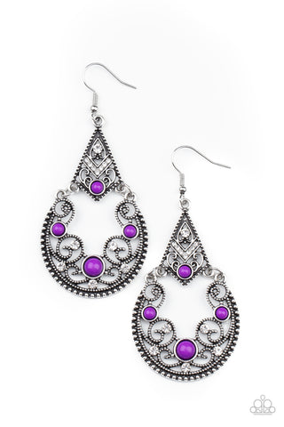 Paparazzi Bohemian Ball Purple Fishhook Earrings