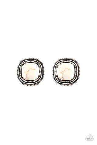 Paparazzi FRONTIER-Runner White Post Earrings