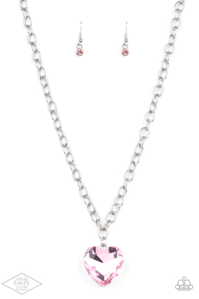 Paparazzi Flirtatiously Flashy Pink Heart Short Necklace - Life Of The Party Exclusive January 2020