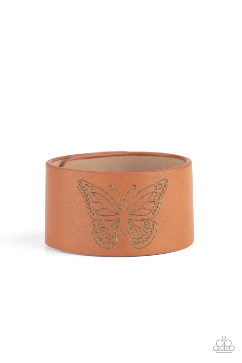 Paparazzi Flirty Flutter Brown Single Wrap Snap Bracelet - Life of the Party Exclusive August 2020