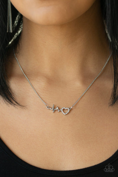 Paparazzi Heartbeat Street White Short Necklace - Life Of The Party Exclusive