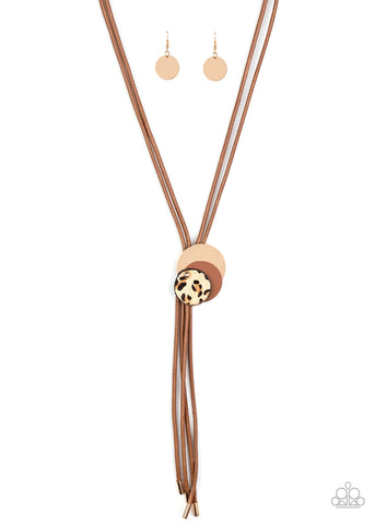 Paparazzi I'm FELINE Good Brown Lariat Necklace - Life Of The Party November 2020
