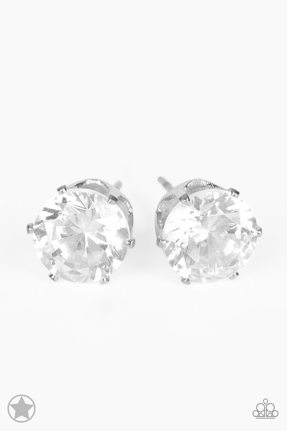 Paparazzi blockbuster just in timeless white rhinestone silver stud post earrings