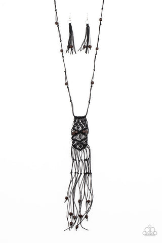 Paparazzi Macrame Majesty Black Long Necklace