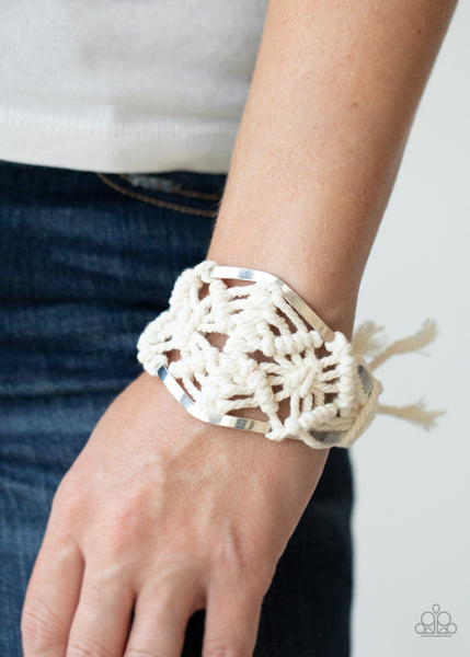 Paparazzi Macrame Mode White Cuff Bracelet - Life Of The Party Exclusive September 2020