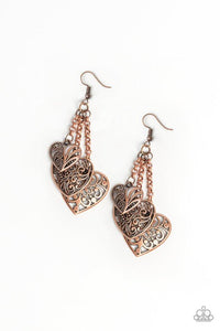 Paparazzi Once Upon A Heart Copper Fishhook Earrings