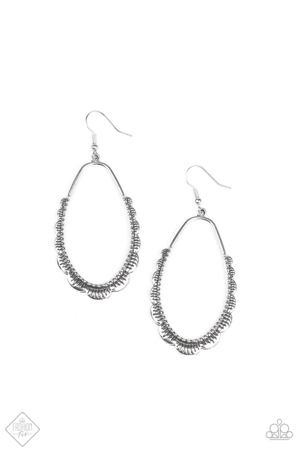 Paparazzi RUFFLE Around The Edges Silver Fishhook Earrings - Fashion Fix Sunset Sightings August 2020