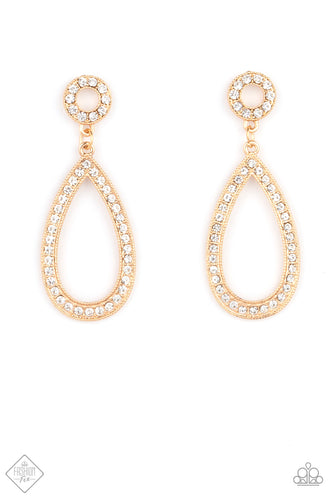 Paparazzi Regal Revival Gold Fishhook Earrings - Fashion Fix Fiercely 5th Avenue April 2021