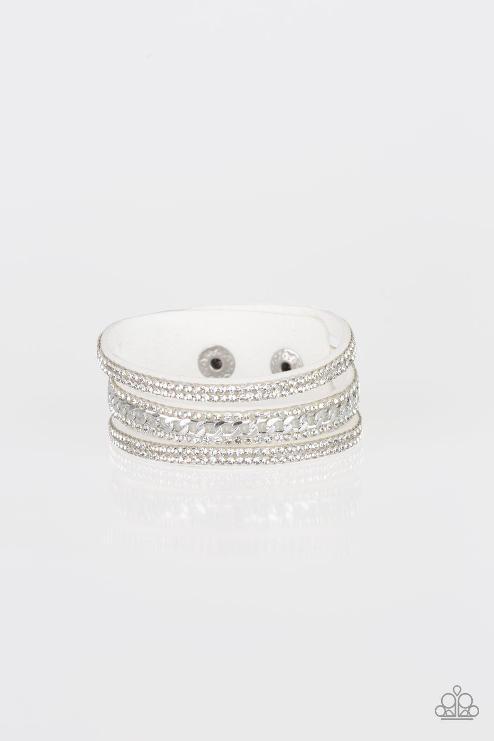 Paparazzi Rollin' In Rhinestones White Single Wrap Snap Bracelet