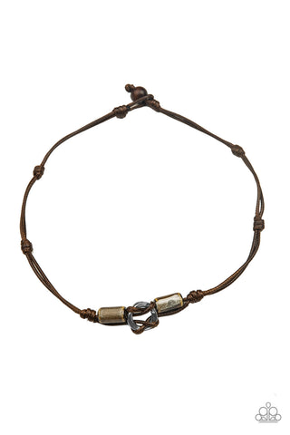 Paparazzi The Broncobuster Brown Men's Short Necklace