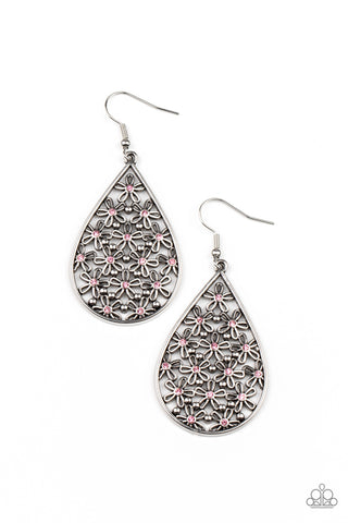 Paparazzi Tick, Tick, BLOOM! Pink Fishhook Earrings