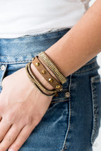 Load image into Gallery viewer, Paparazzi Totally Rockable Brass Triple Wrap Snap Bracelet