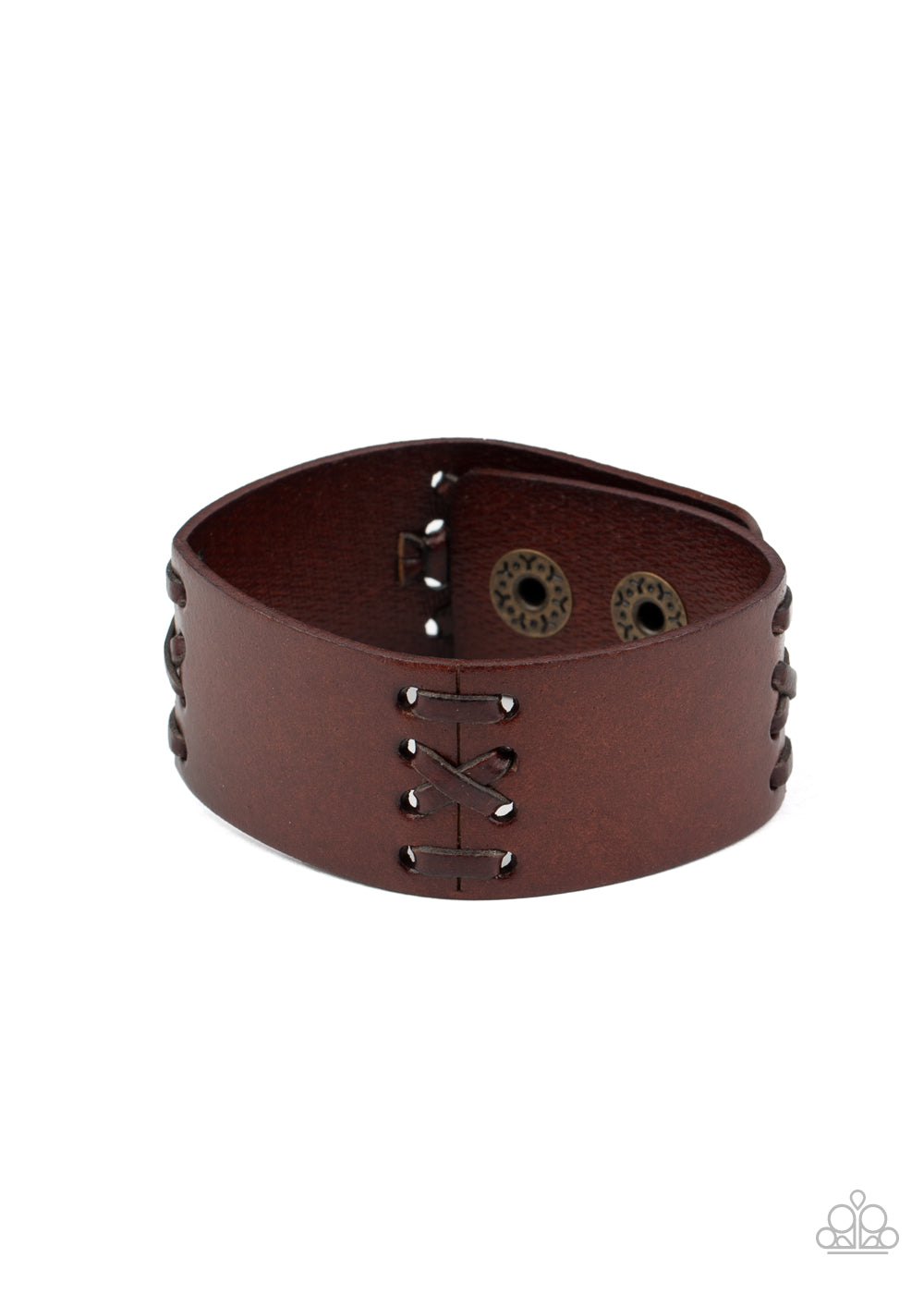 Paparazzi Batters Up Brown Single Wrap Snap Bracelet