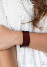 Load image into Gallery viewer, Paparazzi Batters Up Brown Single Wrap Snap Bracelet