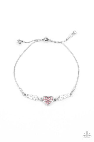 Paparazzi Big-Hearted Beam Pink Bracelet - Life of the Party Exclusive January 2021