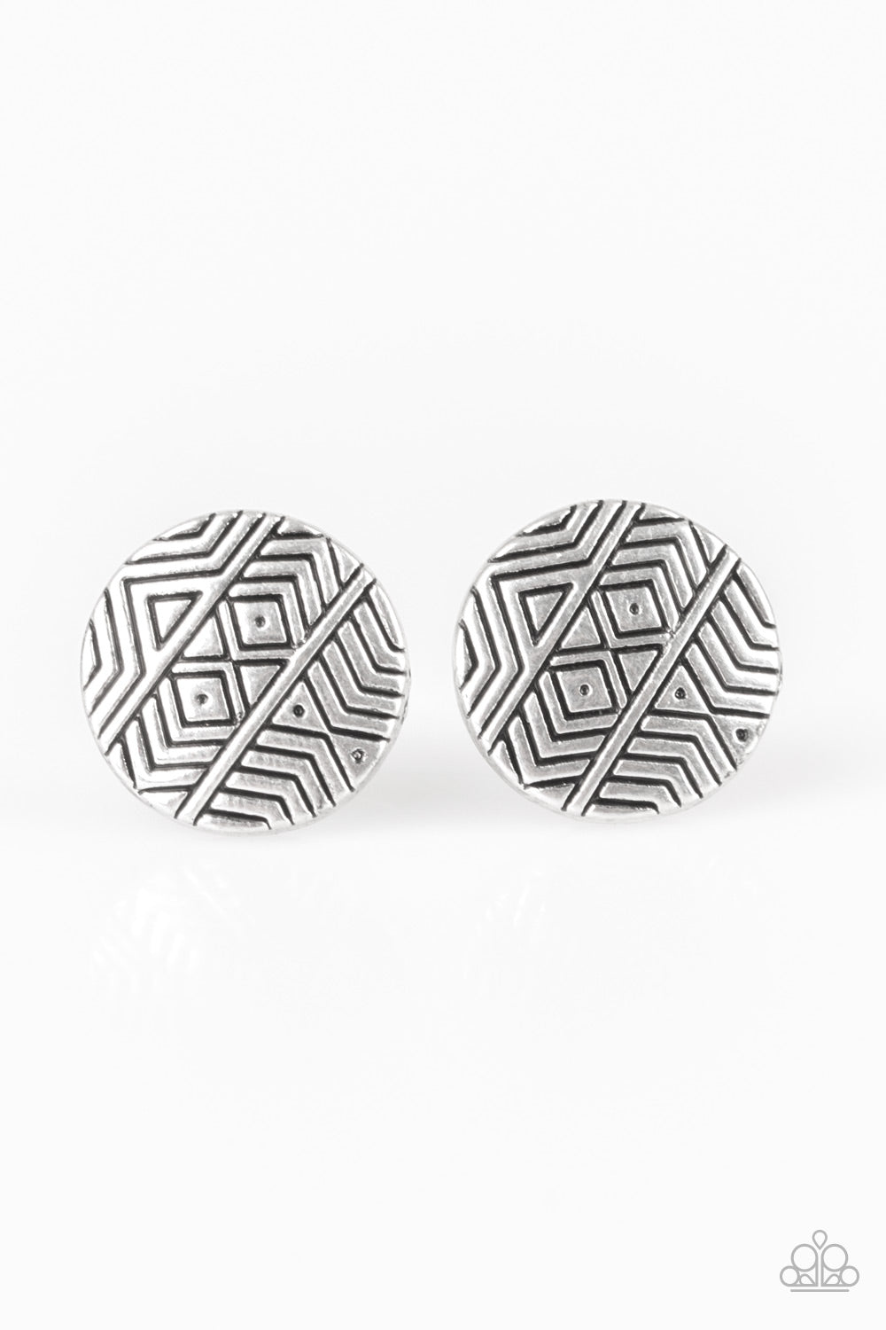 Paparazzi Bright As A Button Silver Post Earrings