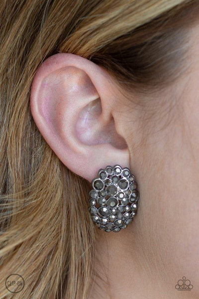 Paparazzi Daring Dazzle Black Clip-On Earrings