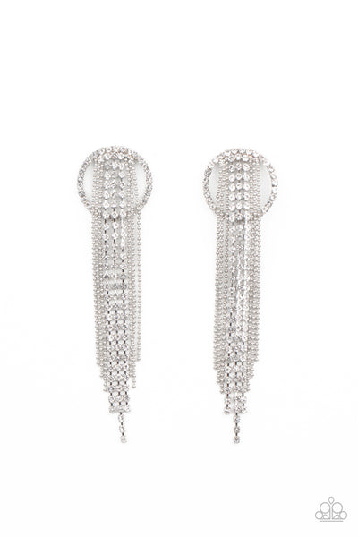 Paparazzi Dazzle By Default White Post Earrings - Life of the Party Exclusive January 2021