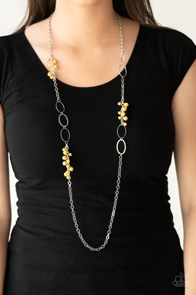 Paparazzi Flirty Foxtrot Yellow Long Necklace
