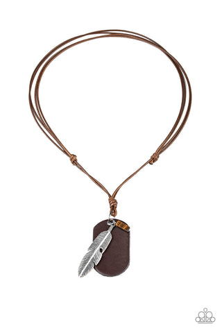 Paparazzi Flying Solo Brown Men's Short Necklace