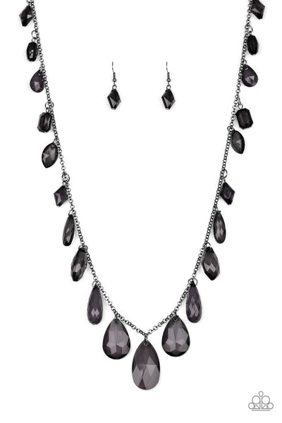Paparazzi Glow And Steady Wins The Race Black Long Necklace