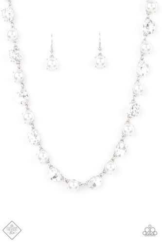 Paparazzi Go-Getter Gleam White Short Necklace - Fashion Fix Fiercely 5th Avenue January 2021
