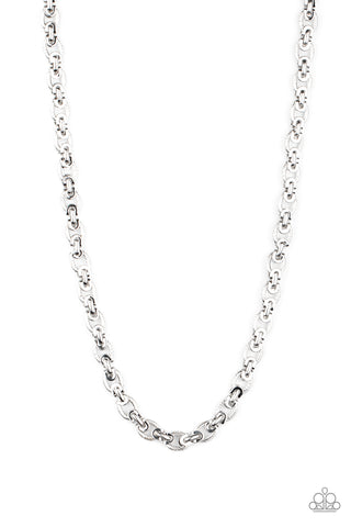 Paparazzi Grit and Gridiron Men's Silver Necklace - Convention 2020