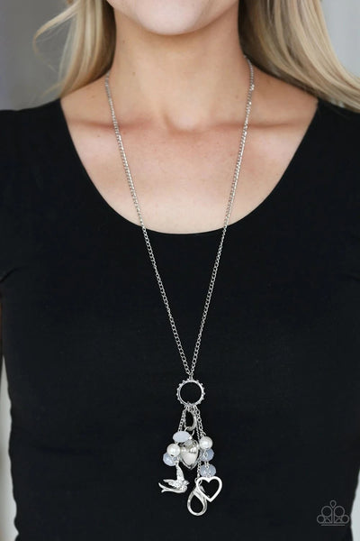 Paparazzi I Will Fly White Lanyard Long Necklace