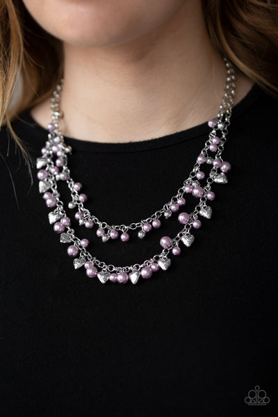 Paparazzi Kindhearted Heart Purple Short Necklace