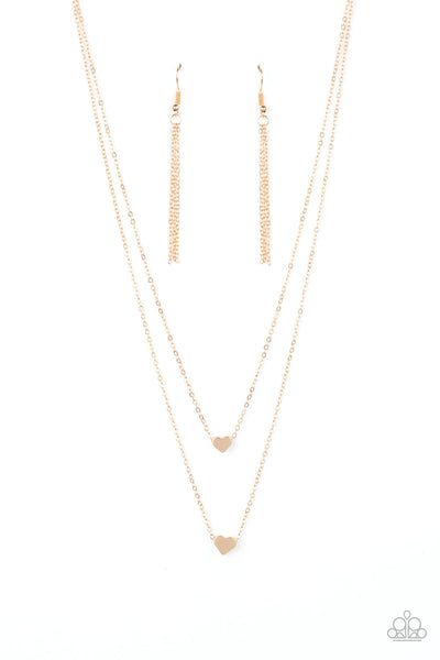 Paparazzi Little Valentine Gold Heart Short Necklace