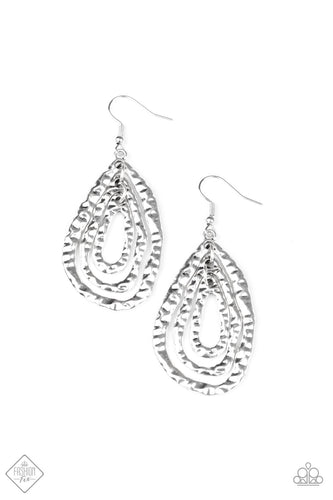 Paparazzi Metallic Meltdown Silver Fishhook Earrings - Fashion Fix Simply Santa Fe September 2020