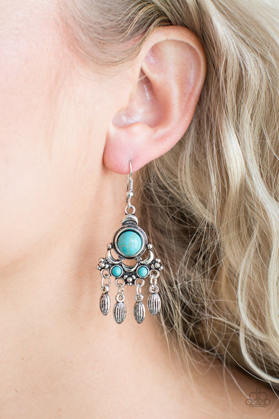Paparazzi No Place Like Homestead Blue Stone Fishhook Earrings